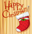 Happy Christmas poster with sock vector image vector image