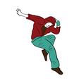 Hip-hop man dancer colorful contour sketch vector image