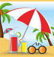 summer umbrella sun glasses and cocktail over vector image