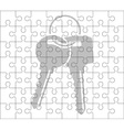 stencil of puzzle pieces and keys vector image
