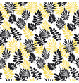 modern plant pattern yellow and black tropical vector image
