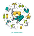 mask and flippers - round line concept vector image