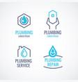 Set of logos emblems icons plumbing service vector image