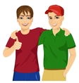 best friends standing embraced vector image
