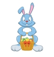 Rabbit with Easter gifts in a basket vector image