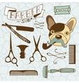 Set of vintage barber shop and hairdresser vector image