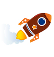 Flying cartoon brown rocket isolated on white vector image vector image