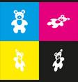 teddy bear sign   white icon vector image