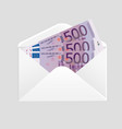 open envelope and 500 euro bills cash vector image vector image