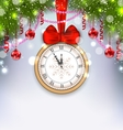New Year Midnight Background with Clock vector image
