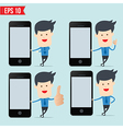 Business man show blank smartphone screen vector image