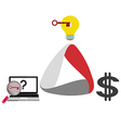 businessman earning Money from ideas vector image
