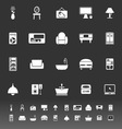 Home furniture icons on gray background vector image