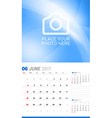 June 2017 Wall Monthly Calendar for 2017 Year vector image