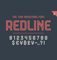 numeric and symbol font red line vector image