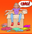 Pop art stressed woman in the box with clothes vector image