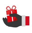 Santa Hand with christmas gift vector image