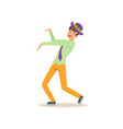 young guy in dancing move party lifestyle man vector image