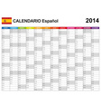 Calendar 2014 Spain Type 12 vector image vector image