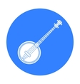 Banjo icon in black style isolated on white vector image
