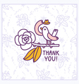 Thank you floral birdie card vector image
