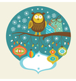 Cute owl on the branch vector image