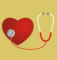 red heart and a stethoscope vector image