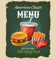 retro fast food burger menu poster vector image