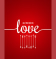 valentines day card love lettering line on red vector image