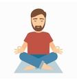 Man meditating on rug vector image