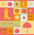 autumn stuff icons in flat style vector image