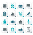 stylized business office and finance icons vector image vector image