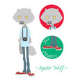 cute hipster wolf vector image