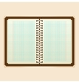 Open notebook with white page on beige background vector image
