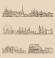 city set London Paris Rome vintage engraved vector image