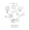 Doodle aviation set Vintage for vector image
