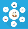 flat icon ship set of boat vessel cargo and vector image
