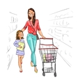 Mother and daughter shopping together vector image