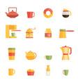 set of flat cafe design elements vector image