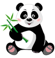 Sitting cute panda with bamboo isolated on white vector image vector image