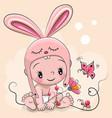 cute cartoon baby in a rabbit hat vector image