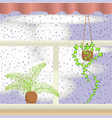 window with raindrops vector image