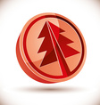 3d red round Christmas tree icon vector image