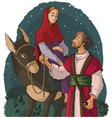 Mary and joseph travelling by donkey to bethlehem vector