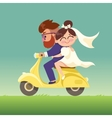 The newlyweds go on a moped vector image