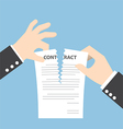 Businessman hands tearing apart contract document vector image