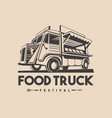 food truck restaurant delivery service logo vector image