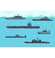 Warship set in flat style vector image