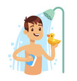 young man taking shower in bathroom guy washing vector image