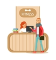 Fitness Club Reception Counter With Female vector image